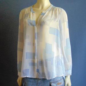 Joie Sky Blue Patchwork Sheer Silk Shirt M